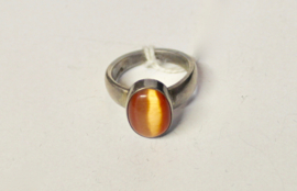 ZILVEREN ring met ORANJE Kattenoog  - maat 57-58 size - Ring SILVER with ORANGE Cats eye