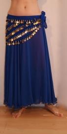 Cirkelrok chiffon met golvende zoom konings  blauw - 1 laag afgeboord met gouden kralen en pailletten 87 cm Lengte - S M L - 87 cm Heigh Full circle skirt chiffon ROYAL BLUE gold rimmed