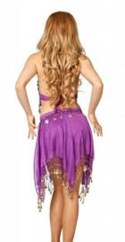 3-delig Harem setje dames : hoofdbandje + topje + rokje LILA / LICHT PAARS - XXS XS S - 3-piece set harem costume ladies SOFT PURPLE / LILAC