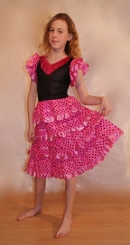 Spaanse flamenco jurk voor meisjes ROZE ROSE - prinsessenjurk - Spanish flamenco dress girls PINK