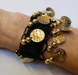 Muntjes armband ZWART GOUD - Small Medium - Coin bracelet BLACK GOLD