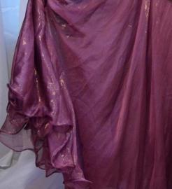 Glimrok  2 lagen VIEUX ROSE goudglans met golvende zoom -  PINK 2-layer  GOLDEN glowing skirt