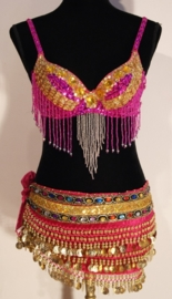 Pailletten bh FUCHSIA /FEL ROZE, GOUD met kralen franjes - sequinned bra FUCHSIA / BRIGHT PINK, GOLD decorated with beaded fringe