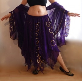 2-delig setje PAARS GOUD van Gipsy Rok + Sluier van chiffon met paillettenversiering - 2-piece Gypsy set PURPLE GOLD : skirt + veil chiffon embroidered with sequins
