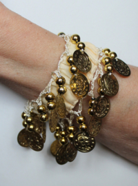 Muntjes armband CRÈME / ROOM KLEUR  GOUD - Small Medium - Coin bracelet CREAM GOLD