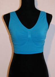 WIT, BEIGE, LICHT BLAUW, ROZE, ROOD, PAARS, TURQUOISE, ZWART Sportief mouwloos, Stretch, naadloos BH topje microfiber - XL/ XXL - Comfortable, sleeveless stretch bra, seamless workout stretch top WHITE, BEIGE, PINK, LIGHT PINK, LIGHT BLUE, BLACK, RED