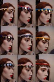 3-delig Harem setje ROOD GOUD model Harem2 : topje + rokje + hoofdbandje - S, XS, XXS - 3-piece harem costume RED GOLD : headband + top + skirt all coins decorated