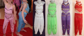 Buikdanskostuum meisjes / jongens 3-delig met muntjes : topje, hoofdband en HAREMBROEK (ROZE, WIT, FLUO GROEN, PAARS, ROOD) - 4-8 jaar - 4-8 years old 3-piece bellydance costume girls / boys : top + headband + harempants (PINK, WHITE, GREEN, PURPLE, RED)