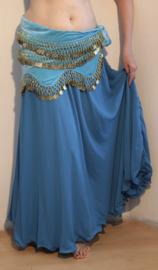 2-lagen rok met golvende zoom TURKS BLAUW - one size (tot XL) - 2 layer skirt TURKISH BLUE
