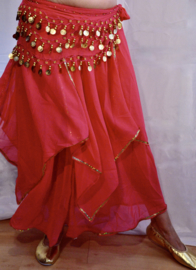 Rok orientaals tulpmodel FUCHSIA FEL ROZE, GOUD / ZILVER - Small Medium - Bellydance skirt oriental tulip FUCHSIA BRIGHT PINK, GOLD / SILVER