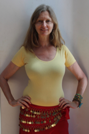 Stretch Katoenen Body GEEL met korte mouwen - one size - Short sleeve  Stretch cotton YELLOW leotard body