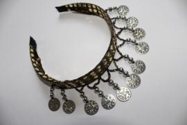 Diadeem GOUD met ZILVEREN muntjes en kraaltjes Tiara voor meisjes en dames - one size - Tiara GOLD with SILVER beads and coins for ladies and girls