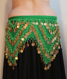 4 punten gordel GROEN GOUD chiffon met LICHTGROEN haakwerk - G38 - 4-points bellydance coinbelt GREEN GOLD, BRIGHT GREEN thread crocheted