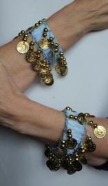 Muntjes armband LICHT BLAUW GOUD - Small Medium - Coin bracelet LIGHT BLUE GOLD