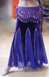 Buikdans rok zeemeermin fluweel paars met zilver -  M L XL - Bellydance skirt mermaid velvet purple silver