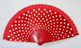 Spaanse waaier ROOD met WITTE polka dots - Spanish RED fan WHITE polka dots decorated