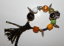 """""""Voel"""" en """"Geluids"""" Armband nr2 met grote kralen, elastisch - one size - Elastic big beads bracelet to """"touch and listen nr2"""""""