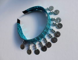 Diadeem TURQUOISE met ZILVEREN muntjes en kraaltjes Tiara voor meisjes en dames - one size -  Tiara TURQUOISE BLUE with SILVER beads and coins for ladies and girls