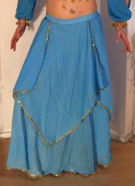 Rok Orientaals tulpmodel TURQUOISE GOUD - Bellydance Oriental Tulip skirt TURQUOISE, GOLD rimmed