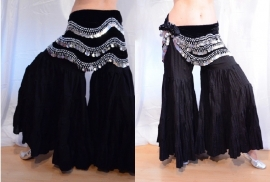 Katoenen strokenbroek tribal fusion katoen zwart - M, L, XL, XXL - Tribal fusion ruffled pants BLACK - Pantalon tribal ATS cotton NOIR très large