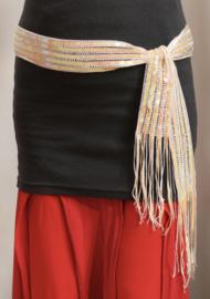 Pailletten riem / ceintuur met franje, PARELMOER WIT - Sequinned fringe belt WHITE MOTHER OF PEARL