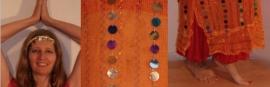 3-delig Cleopatra ensemble : transparante netjurk/tuniek oranje-GEEL met multicolor muntjes+ bijpassend heupsjaaltje + hoofdbandje met muntjes - S M L XL - 3-piece Cleopatra set : transparent net dress orange-YELLOW with multicolored coins + matching hip