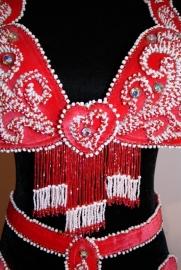 """5-delig buikdanskostuum fluweel uit Egypte met taillebandje """"Valentijn"""" rood/wit - 5-pce Bellydance costume Egypt """"Valentine"""""""
