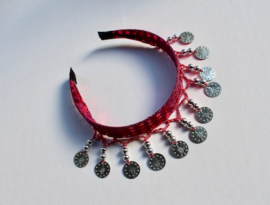 Diadeem FUCHSIA met ZILVEREN muntjes en kraaltjes Tiara voor meisjes en dames - one size - Tiara FUCHSIA PINK with SILVER beads and coins for ladies and girls