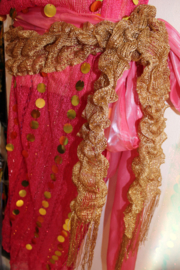 GOUDEN sjaaltje elastisch met franjes - GOLDEN shawl elastic with fringe