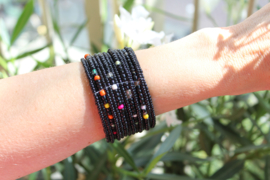 Kraaltjes armband ZWART MULTICOLOR Ibiza Hippie Chic - one size - Beaded bracelet Ibiza Hippy Chick style BLACK MULTICOLOR