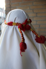 Saudi olie sjeik heren hoofddeksel : witte sjaal + hoofdband ROOD GOUDGEEL - Saudi oil sheikh head gear : white shawl + headband RED GOLDEN-YELLOW