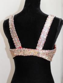 ZILVEREN Buikdans Burlesque Pailletten BH RODE accenten - Fully sequinned SILVER bra RED accents for bellydance / burlesque
