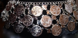 Metalen muntjes gordel heupketting  ZILVER met GROTE MUNTEN - Metal Hipchain SILVER color with BIG COINS