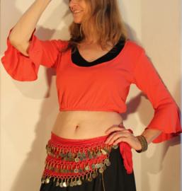 Bloesje / choli-top FEL ROOD met elastiek onder de buste en 3/4 mouwen katoen - XL - choli-top / blouse 3/4 sleeves BRIGHT RED cotton with elastic underbuste