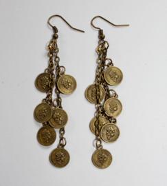 Oorbellen BRONS kleurig (donker goud) met kleine muntjes en subtiel kraaltje  - Earrings with small coins and subtle bead BRONZE colored (dark gold)