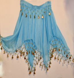 4 punten rokje met muntjes en kraaltjes versiering TURQUOISE TURKS BLAUW licht transparant - one size S M - 4 points skirt TURQUOISE TURKISH BLUE, coins and beads decorated
