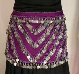 Muntjes gordel PAARS chiffon met ZILVER - G34 - Bellydance coinbelt PURPLE, GOLD decorated