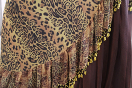 Panter-Sarong gordel met kralenhaakwerk BRUIN LICHTBRUIN, versierd met GOUD  - Extra Large XL, XXL, XLong - Leopard Sarong hipshawl hipscarf BROWN LIGHT BROWN, Egyptian handycraft, crocheted decorated with GOLD