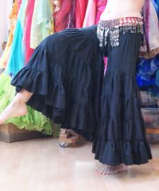 Katoenen strokenbroek tribal fusion katoen zwart - M, L, XL, XXL - Tribal fusion ruffled pants BLACK - Pantalon tribal ATS cotton NOIR très large