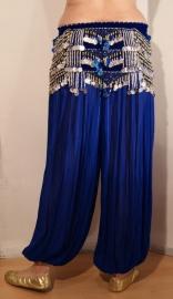Harembroek katoen met glimstreepje KONINGS BLAUW - one size - Harempants cotton ROYAL BLUE - Saroual