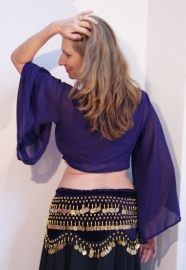 Gipsy Vleermuistopje chiffon, knooptopje met wijde mouwen DONKER PAARS semi transparant - Gypsy Butterfly tie top with wide sleeves  DARK PURPLE semi transparent