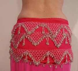 Kralengordel ROZE ZILVER uit Egypte - Beaded belt oriental dance from Egypt PINK SILVER
