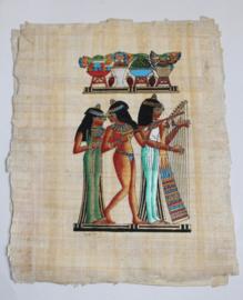 Originele Egyptische papyrus nr 9 met faraonische afbeeldingen  - Muzikantes / Musicians - Papyrus from Egypt nr 9
