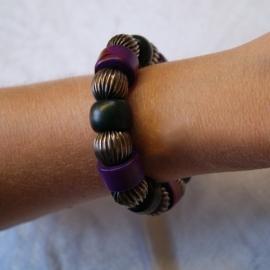 Boho Ibiza grote kralen armband ZWART PAARS ZILVER - Bohemian Ibiza big beads bracelet BLACK PURPLE SILVER color