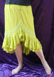 Zomerse gypsy Strokenrok india katoen LIME LICHT GROEN - 40-42 L-XL - Ruffled Bohemian gipsy summer skirt LIME GREEN knee long