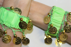 Muntjes armband FELGROEN / LENTEGROEN GOUD - Small Medium - Coin bracelet BRIGHT GREEN   GOLD