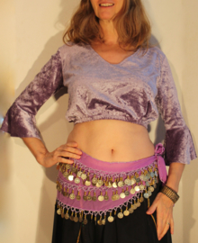 Bloesje / choli-top met elastiek onder de buste en 3/4 mouwen LILA / LICHT PAARS  fluweel  - Medium M /L  Large - choli-top / blouse 3/4 sleeves SOFT PURPLE / LILAC velvet with elastic underbuste