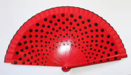 Spaanse waaier ROOD met ZWARTE polka dots - Spanish RED fan BLACK polka dots decorated.