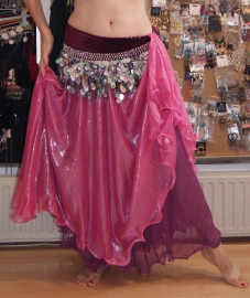 Glimrok 2 lagen met 2 kleuren ROZE / VIEUX ROSE - L Large, XL Extra Large - 2-layer Glow skirt with 2 shades of PINK