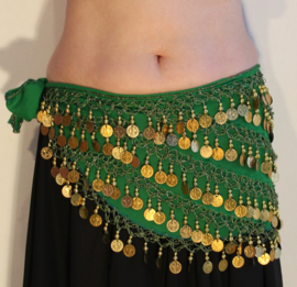 Muntjes gordel op  chiffon GROEN met GOUD - G34 - Coinbelt chiffon GREEN with GOLDEN coins and beads